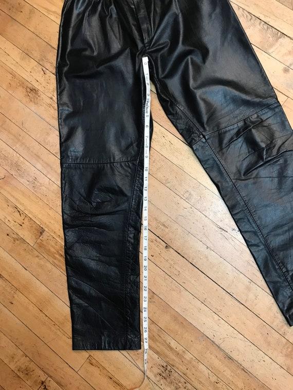 1980s black  leather pants. - image 5