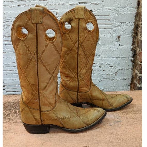 Vintage boots, leather boots, western, heeled, mot
