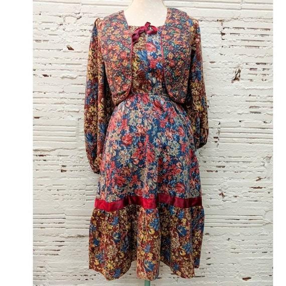 peasant boho dress set, prairie peasant 1970s 1960
