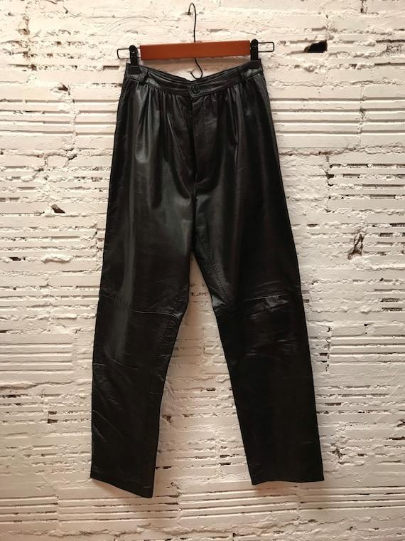 1980s black  leather pants. - image 1