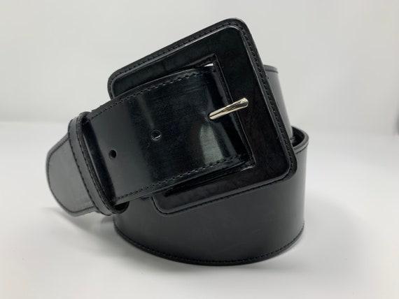 Vintage High Waisted Black Leather Belt, Genuine L