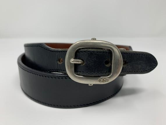 Vintage Ralph Lauren Black Leather Belt, High Wais