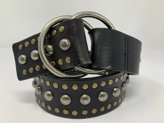 Vintage Studded Black Leather Belt, Vintage Belt,