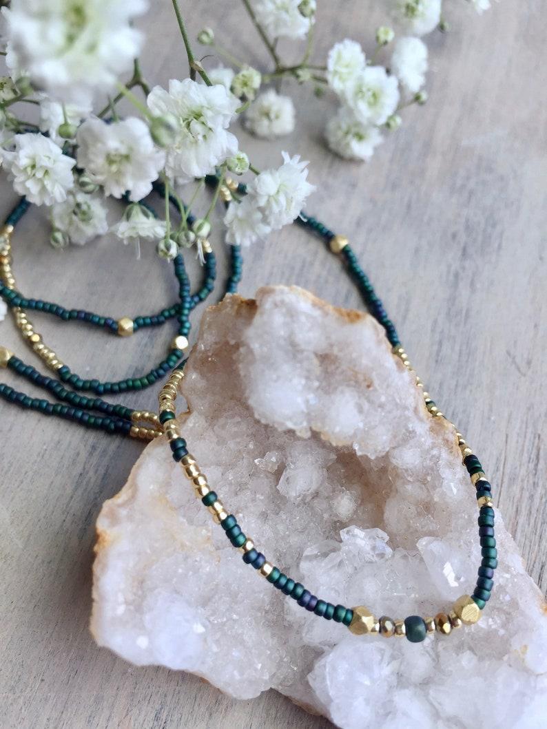 opaque topaz and golden tone Aida Minimalist necklace