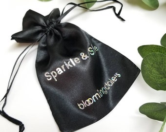 Satin Logo Custom Print 10pcs Small Fabric Bags, Gift Favour Bags, Drawstring Pouch, Makeup and Cosmetic Bag, Jewelry Packaging, Name Print