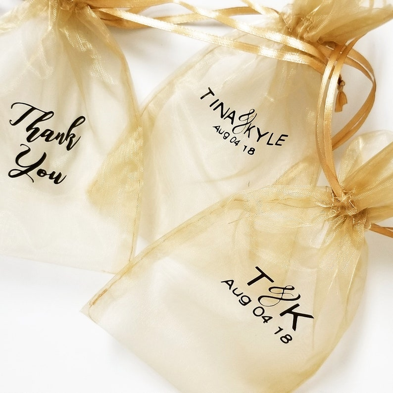 Mesh Candy Bags Party Gift Bags Thank You Personalized Organza Bags 10pcs- Fabric Favour Bags Drawstring Pouch
