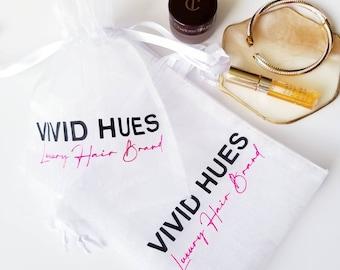 Logo Custom- 2 Print Colors, 10pcs Organza Fabric Gift Bags, Drawstring Mesh Bag, Cosmetic Bag, Jewelry Package, Logo, Brand, Monogram Print