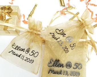 "3"" x 4"" Logo Custom Print 10pcs Organza Fabric Favor Bags, Drawstring Pouch, Mesh Bag, Wedding Gift Bag, Jewelry Bags, Name, Monogram Print"