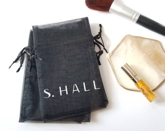 "4"" x 6"" Logo Custom Print 10pcs Organza Fabric Favour Bags, Drawstring Pouch, Mesh Bag, Wedding Gift Bag, Jewelry, Monogram, Name Print Bag"