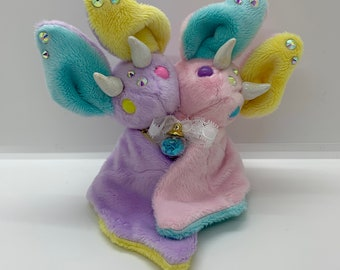 Color Block Doubled Headed Bat | Bat Plush | Collectible | Pastel & Glittery |