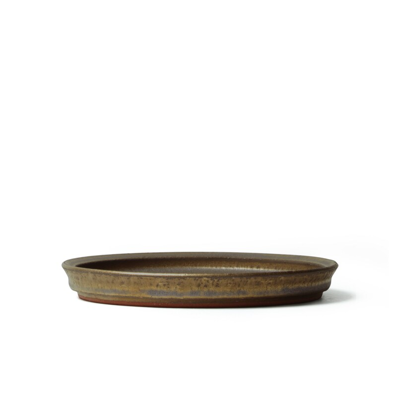 EXTRA LARGE Pottery Round Rim Plate Gold 10.2 Dinner Plate Dessert Handmade Japanese wabi sabi eco friendly Yoko Onda