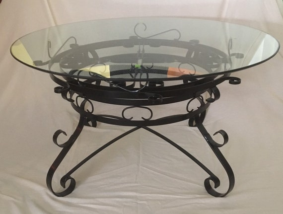 Wrought Iron Coffee Table With Glass Top Etsy
