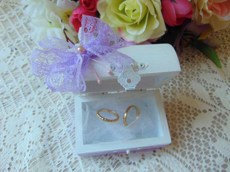 Wedding Ring Bearer Box Rustic Ring Bearer Valentine gift for her Rustic Wooden Box Purple ring box Engagement ring box Small Ring Box