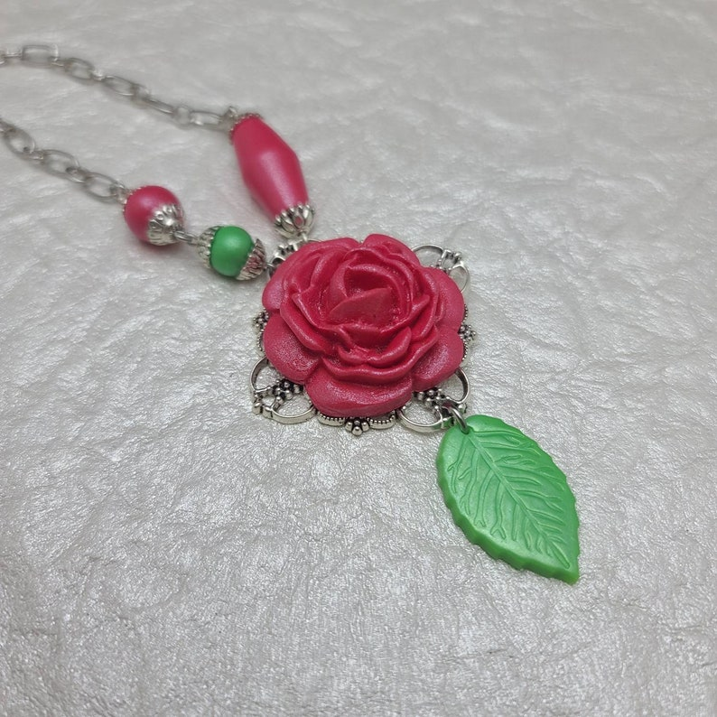 Your choice One a kind Clay Rose Pendant Necklace with Handmade Clay Beads