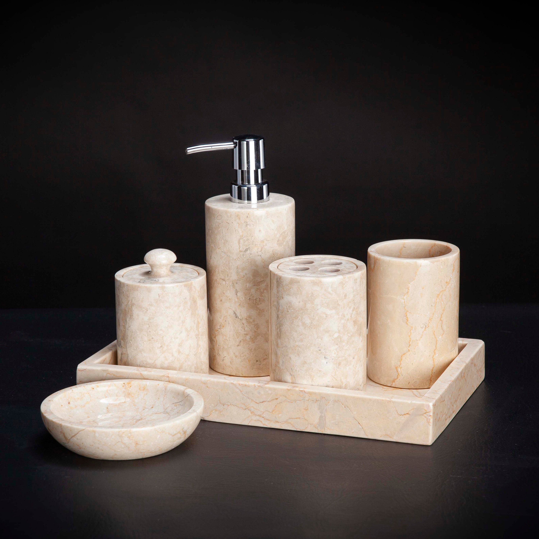 6 Piece Marble Bathroom Accessory Set, Marble Bathroom Accessories Sets
