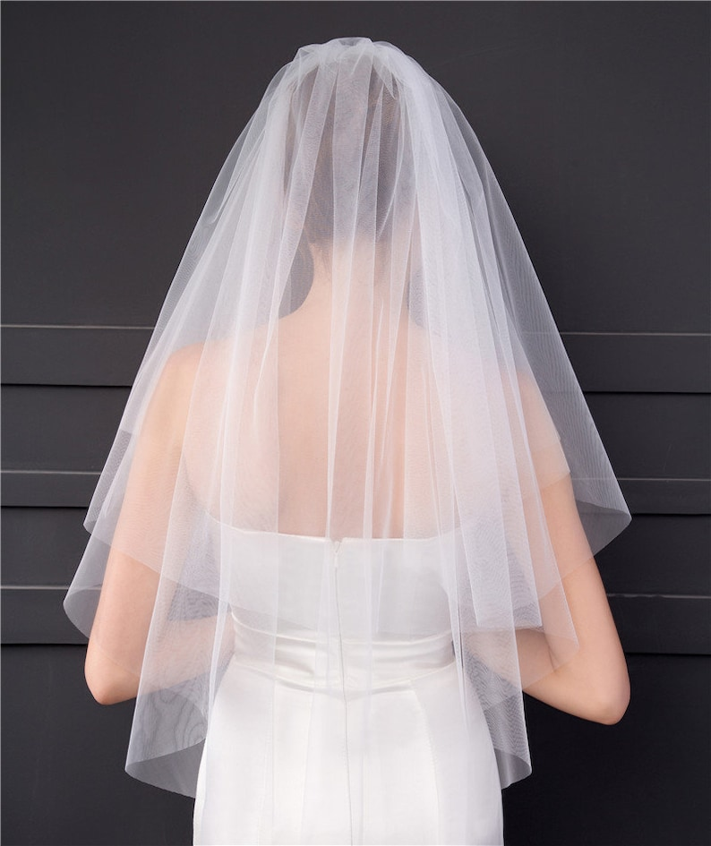 Ivory base colour Ombre simplistic style Wedding Veil White Ombre Hand Dyed Rose Water 1 Tier Blusher Veil 2 Tier Elbow Veil