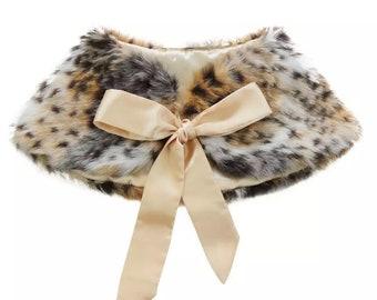 Little Girls Faux Fur Wraps   Wedding stole   Bolero Jacket with satin ribbon tie feature