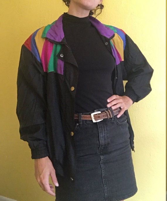 1980s rainbow silk jacket