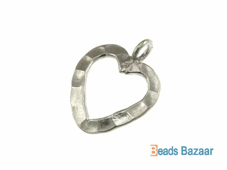 Silver Heart Charm Karen Hill Tribe silver Hammered Wire Heart Charm Hammered Wire Heart Charm Hammered Heart Charm 18.3mm