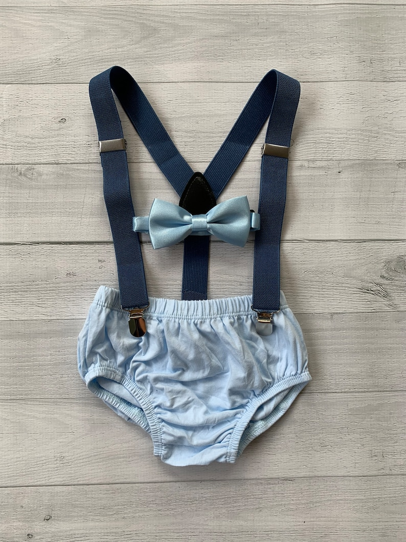 heather navy Suspenders. Powder Blue Smash Cake Outfit Boy First Birthday super soft powder blue cotton Diaper Cover and  bow tie