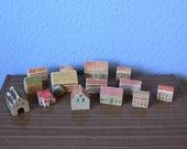 Vintage Toy Wooden Houses Cleaning Houses Gemany Ore Mountains 60s