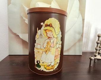 Sarah Kay Tin Canister Vintage Sarah Kay Tin Box Small Sarah Kay Storage Tin