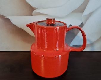 Ceracron tea or coffee pot red blue German retro pottery coffee pot skandi design trend color red Vintage Melitta Germany d\u00e9cor