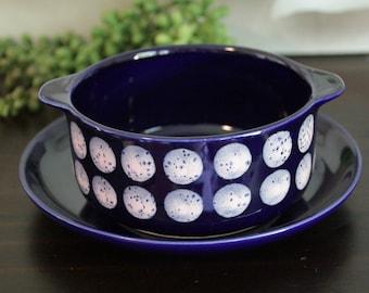 1 Set Melitta Soup Cup with Saucer Shape Copenhagen Decor Dots 70s