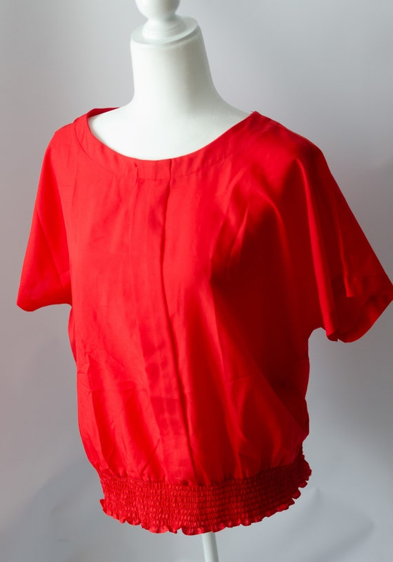 Vintage 1980s Silky Feel Red Short Sleeved Blouse,