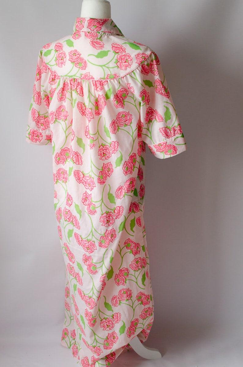 Vintage 1960s Sears Comfort Coat Housedress House Coat Muumuu Mid Mod Floral Mumu Nightgown