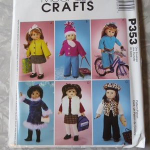 """6 cute outfits UNCUT NEW McCall/'s 3474 American Girl 18/"""" doll clothes pattern"""
