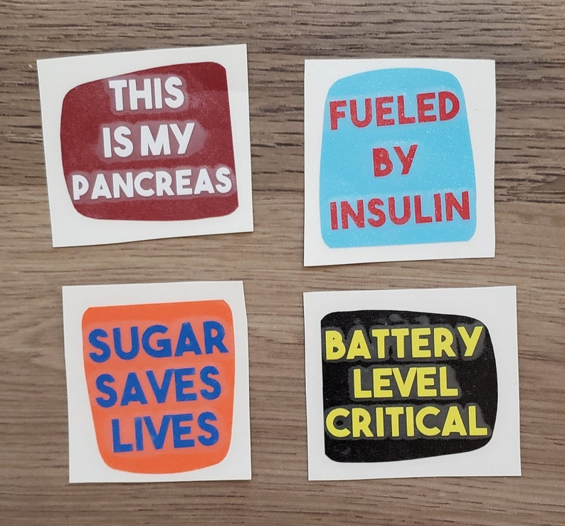 Part 1 Text Vinyl Omnipod Decals- Stickers (original & DASH) - This is my  Pancreas - Fueled By Insulin - Sugar Saves Lives - Battery Level