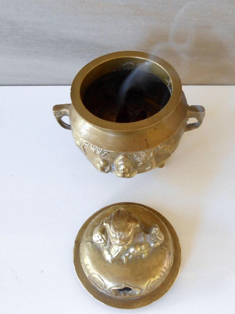 Vintage Engrave  Brass Incense Burner with Foo Dog,Footed Brass Incense Burner Heavy brass Incense Holder,Potpourri Scents Pot,4Tall