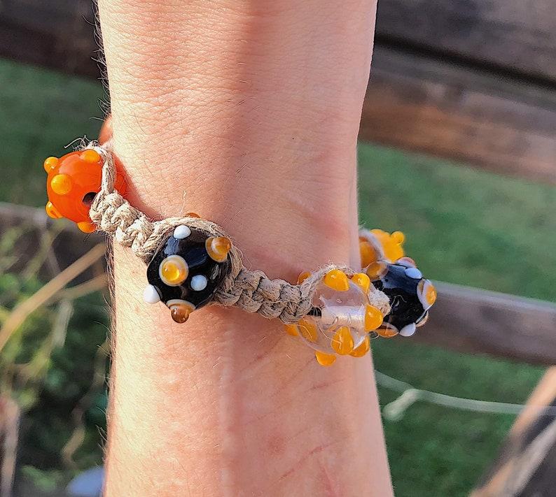 Funky Boho Hemp Bracelet; Handmade