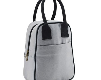 ad5cacde8d Fatmug Lunch Bag For Office Women Men And School Kids  Insulated  Eco-Friendly Canvas With Zip  Multi-Pockets And Bottle Holder- Grey