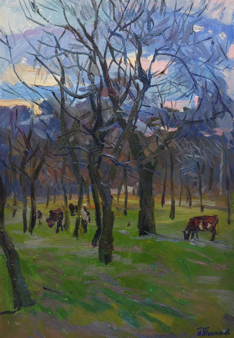 Original oil painting Forest landscape Ukraine artist Pavel Tokmakov. Ukrainian painting
