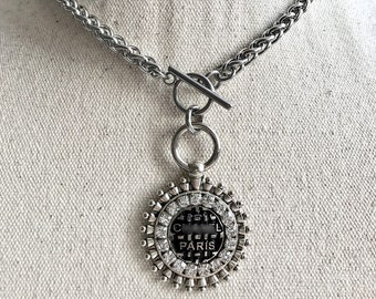 ab0ae2f43 Repurposed DESIGNER Button choker or Necklace • aged silver pendant •  Stainless steel chain • HQ • Swarovski crystals