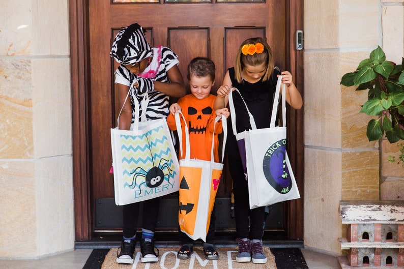 Customized Halloween Gifts for Kids Friendly Ghost Tote Bag 15x16x3.5 Personalized Kid/'s Trick or Treat Tote