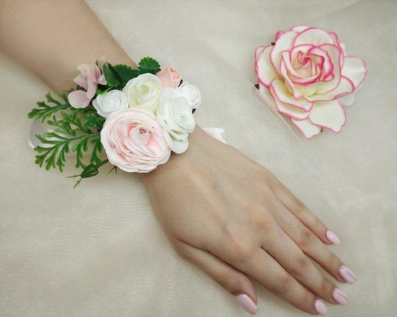 Mint green bridesmaid flowergirl rose flower wrist corsage wedding wristlet