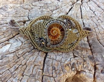 Ammonite macrame bracelet, Ammonite fossil, Boho & Hippie bracelet,  Fossil jewelry, Macrame jewelry.