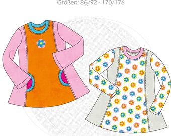 """Paper cut pattern children's shirt, tunic """"Clementine"""" long sleeve, girls long sleeve shirt with pockets, size 86/92-170/176, shirt with split seams"""