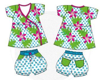 """Paper cut pattern, children's summer combo, shorts, pants, wrap blouse """"Unella Blomma"""" size 86/92-158/164"""