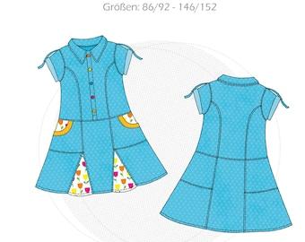 Paper cut pattern shirt blouse dress girl, children's dress with collar, oversized blouse dress with pockets, uniform dress, size 86/92-146/152