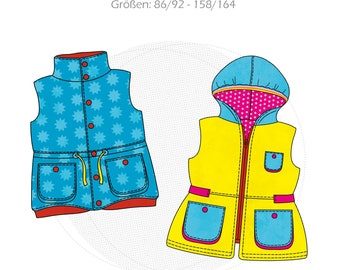 Paper cut pattern children's outdoor vest ELISA, hooded vest with pockets, size 86/92-158/164, step-by-step sewing instructions, jacket replacement