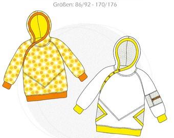 "Paper Cut Pattern Hoodie Kids Hooded Sweatshirt ""Fresita"" Size 86/92 - 170/176 with Sewing Instructions"