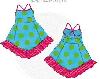 """Paper cut pattern halter dress """"Ventura"""", summer dress with spaghetti straps, size 86/92 - 170/176, with online sewing instructions of colormix"""