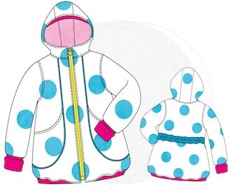 "Paper cut pattern Children's parka, transition coat ""Polyanna"", children's jacket, size 86/92-170/176 with hood and pockets"