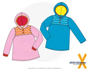 Paper cut pattern, Comfortable hoodie for children with Down syndrome, size 86/92-170/176, feel-good sweater with pass and small button placket