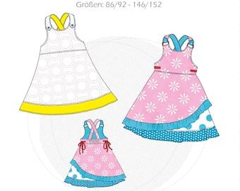 "Paper cut pattern latz dress ""Geske"", strap dress, children's dress, skirt dress girl, size 86/92-146/152, online sewing instructions"