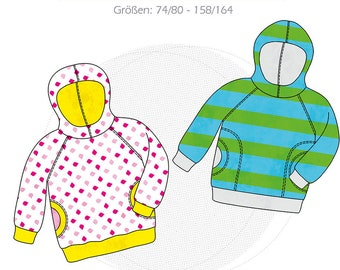 Paper Cut Pattern Kids Hoodie DANAI, Sweatpulli with Hood, Oversized Hoodie Size 74/80 to 158/164